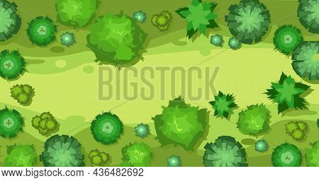 Beautiful Summer Landscape With Trees. Clearing Glade In Forest. View From Above. Illustration In A