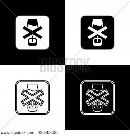 Set No Alcohol Icon Isolated On Black And White Background. Prohibiting Alcohol Beverages. Forbidden