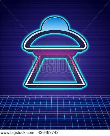Retro Style Ufo Flying Spaceship Icon Isolated Futuristic Landscape Background. Flying Saucer. Alien