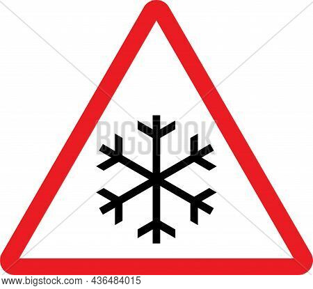 Beware Of Slippery Icy Road Ahead. Red Triangle Background. Safety Signs And Symbols.