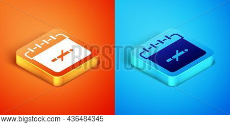 Isometric No Smoking Days Icon Isolated On Orange And Blue Background. Concept Of No Smoking And Wor