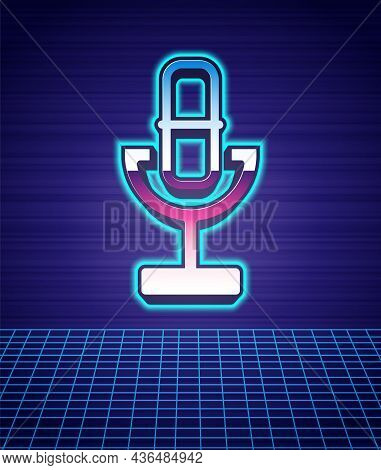 Retro Style Microphone Icon Isolated Futuristic Landscape Background. On Air Radio Mic Microphone. S
