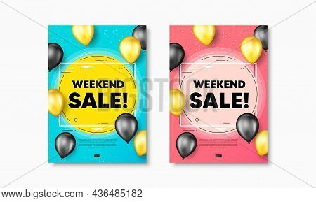 Weekend Sale Text. Flyer Posters With Realistic Balloons Cover. Special Offer Price Sign. Advertisin