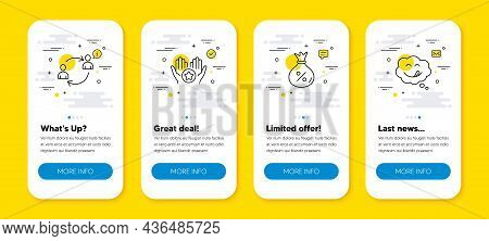Vector Set Of User Communication, Favorite And Loan Line Icons Set. Ui Phone App Screens With Line I