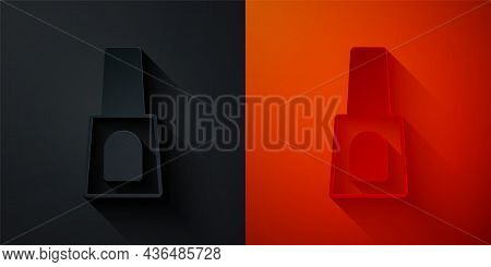 Paper Cut Bottle Of Nail Polish Icon Isolated On Black And Red Background. Paper Art Style. Vector