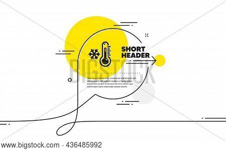 Low Thermometer Icon. Continuous Line Chat Bubble Banner. Temperature Diagnostic Sign. Fever Measuri