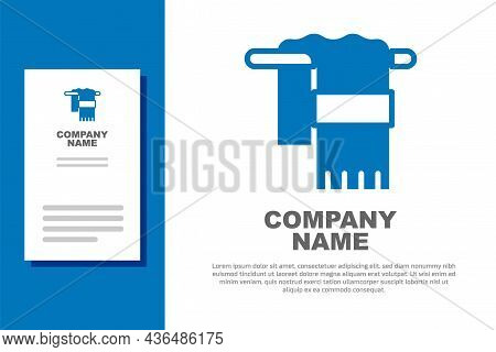Blue Towel On Hanger Icon Isolated On White Background. Bathroom Towel Icon. Logo Design Template El