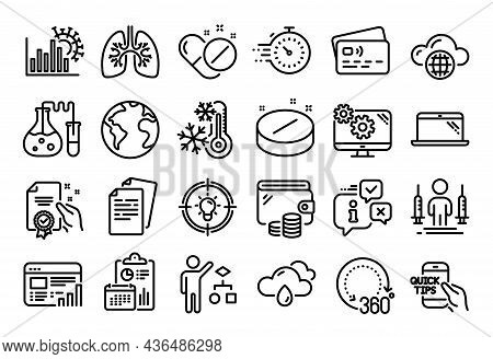 Vector Set Of Timer, Documents And Rainy Weather Line Icons Set. Calendar Report, Money Wallet And C