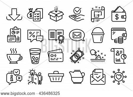 Vector Set Of Coffee, Architectural Plan And Skin Moisture Line Icons Set. Calendar Report, Money Wa