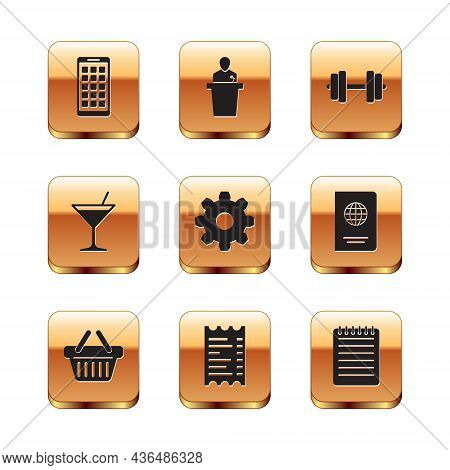 Set Mobile Apps, Shopping Basket, Paper Or Financial Check, Cogwheel Gear Settings, Martini Glass An