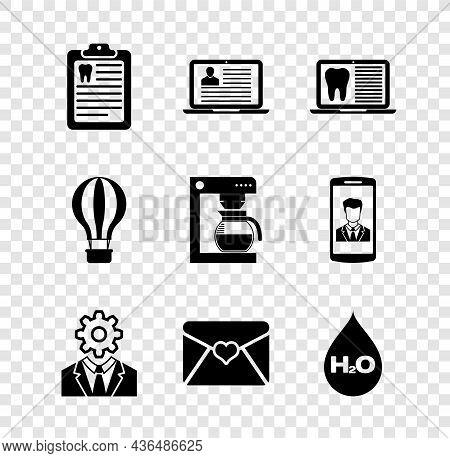 Set Clipboard With Dental Card, Laptop Resume, , Head Gear Inside, Envelope Valentine Heart And Wate
