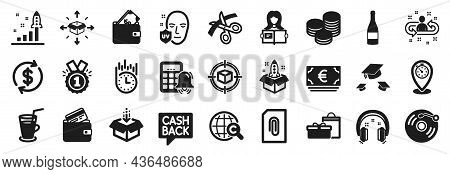 Set Of Simple Icons, Such As Debit Card, Approved, Uv Protection Icons. Scissors, Timer, Get Box Sig