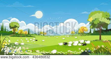 Spring Village With Goats, Sheep And Windmills On Hills With Blue Sky And Clouds,vector Cartoon Natu
