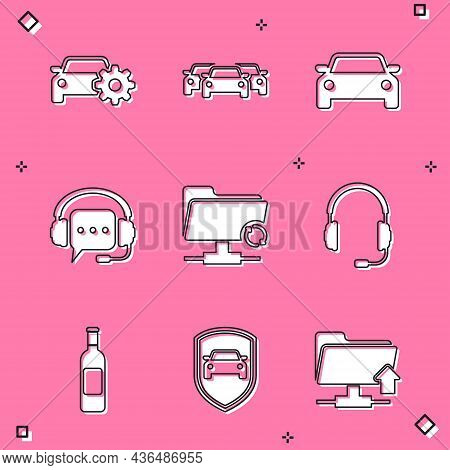 Set Car Service, Cars, , Headphones With Speech Bubble, Ftp Sync Refresh And Microphone Icon. Vector