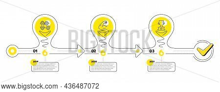 Gym Infographic Timeline With 3 Steps. Lightbulb Journey Path Infographics. Sport Process Diagram Wi