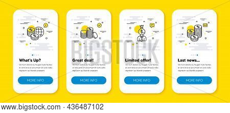 Vector Set Of World Money, Manager And Banking Money Line Icons Set. Ui Phone App Screens With Line