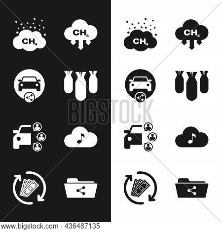 Set Aviation Bombs, Car Sharing, Methane Emissions Reduction, , And Music Streaming Service Icon. Ve