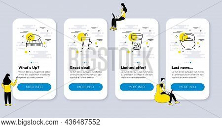 Set Of Interiors Icons, Such As Mattress, Ice Tea, Latte Icons. Ui Phone App Screens With People. Te