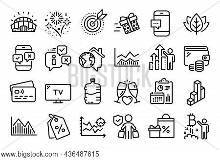 Vector Set Of Investment Graph, Present Delivery And Wedding Glasses Line Icons Set. Calendar Report