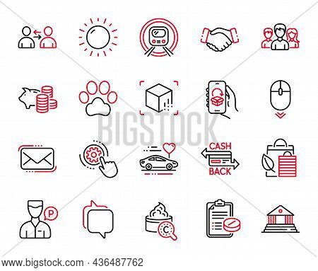 Vector Set Of Business Icons Related To Dog Paw, Messenger Mail And Collagen Skin Icons. Metro Subwa