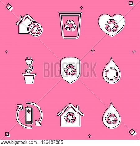 Set Eco House With Recycling, Recycle Bin Recycle, Friendly Heart, Electric Saving Plug Pot, Inside