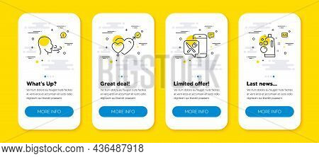 Vector Set Of Breathing Exercise, Male Female And Food App Line Icons Set. Ui Phone App Screens With