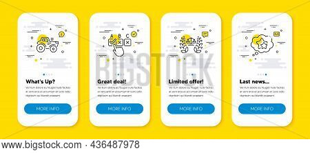 Vector Set Of Correct Checkbox, Justice Scales And Tractor Line Icons Set. Ui Phone App Screens With