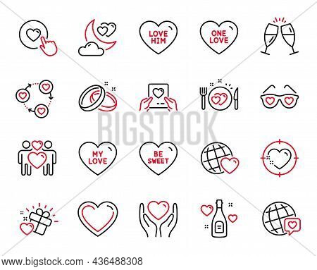 Vector Set Of Love Icons Related To Champagne Glasses, Love Gift And Romantic Dinner Icons. Wedding