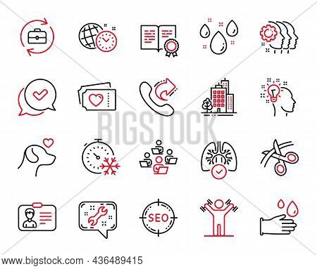 Vector Set Of Line Icons Related To Identification Card, Spanner And Employees Teamwork Icons. Dumbb