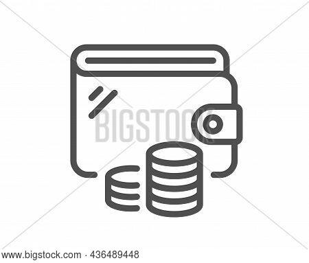 Wallet Line Icon. Money Purse Sign. Cash Budget Symbol. Quality Design Element. Line Style Wallet Ic