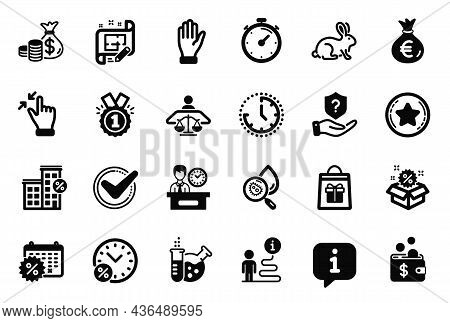 Vector Set Of Business Icons Related To Architect Plan, Hand And Confirmed Icons. Protection Shield,