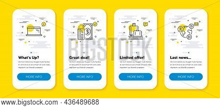 Vector Set Of Baggage Reclaim, Laptop And Payment Line Icons Set. Ui Phone App Screens With Line Ico