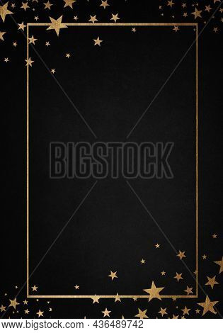 Anthracite Background With Luxery Golden Stars And Golden Frame. Good For Logo Or Invitation.