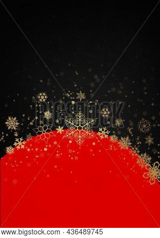 Red And Black Winter Background With Golden Snowflakes. Christmas Card