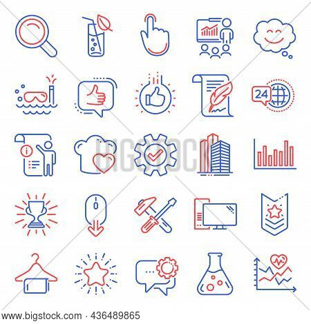 Business Icons Set. Included Icon As Search, Feather, Star Signs. Bar Diagram, Manual Doc, Hammer To