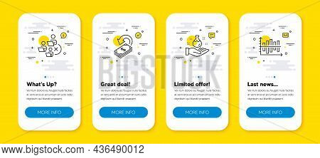 Vector Set Of Remove Team, Cashback And Chemistry Lab Line Icons Set. Ui Phone App Screens With Line