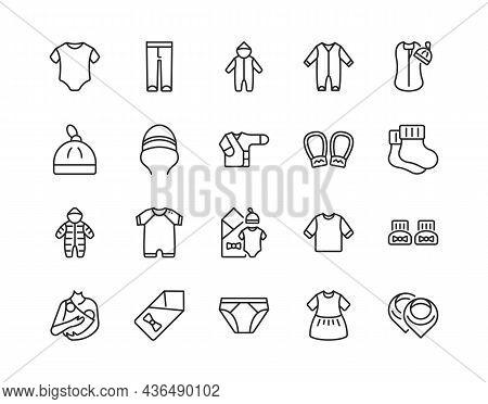 Baby Clothes Flat Line Icon Set. Vector Illustration Infant Apparel, Bodysuit, Romper, Napkin, Booti