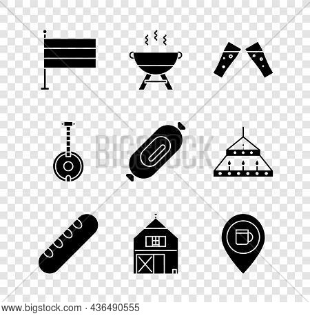 Set National Germany Flag, Barbecue Grill, Glass Of Beer, French Baguette Bread, Farm House, Alcohol