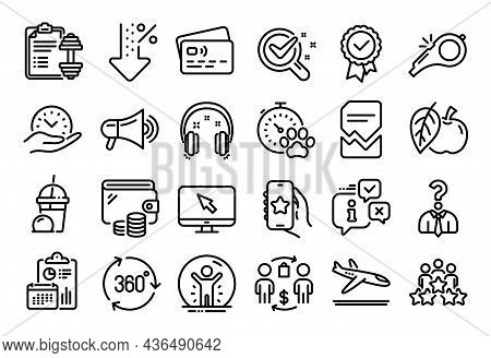 Vector Set Of Dog Competition, Favorite App And Low Percent Line Icons Set. Calendar Report, Money W