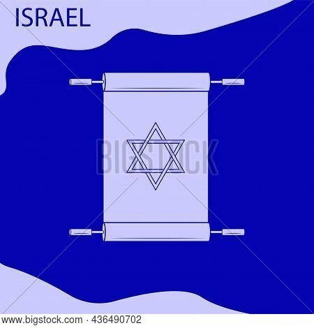 Scroll, Star Of David - Vector. Israel. Hanukkah, Sukkot, Rosh Hashanah, Yom Kippur, Rosh Chodesh, P