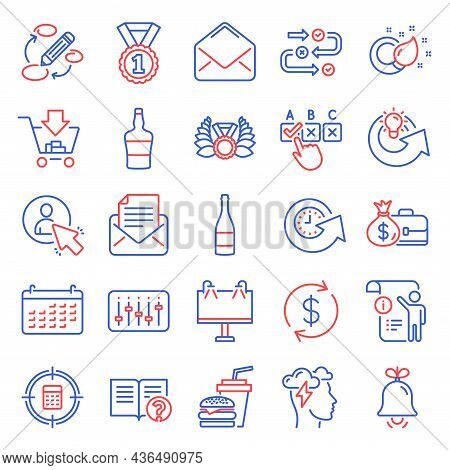 Line Icons Set. Included Icon As Laureate Medal, Mail, Correct Checkbox Signs. Champagne Bottle, Sho
