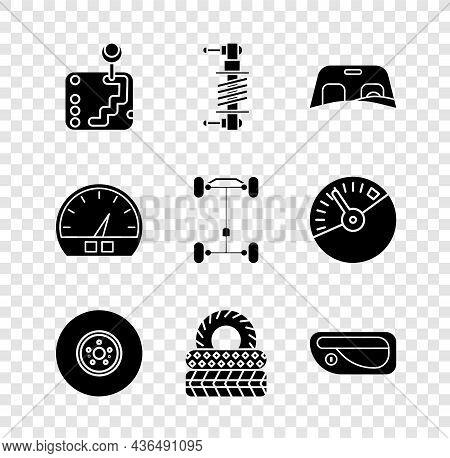 Set Gear Shifter, Shock Absorber, Car Windscreen, Brake Disk, Tire, Door Handle, Speedometer And Cha