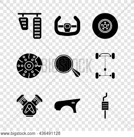 Set Car Gas And Brake Pedals, Sport Steering Wheel, Disk, Engine, Fender, Muffler, With Caliper And