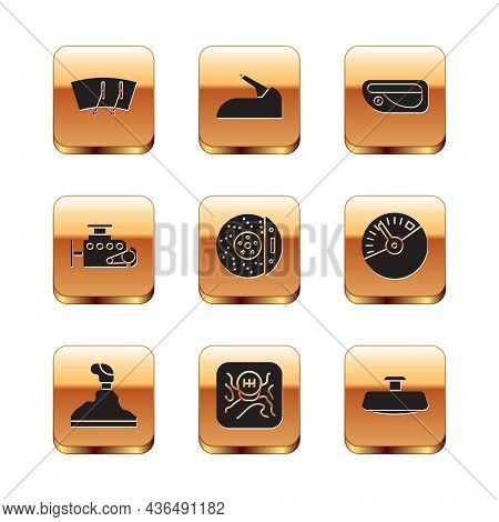 Set Windscreen Wiper, Gear Shifter, Car Brake Disk With Caliper, Engine, Door Handle, Mirror And Han