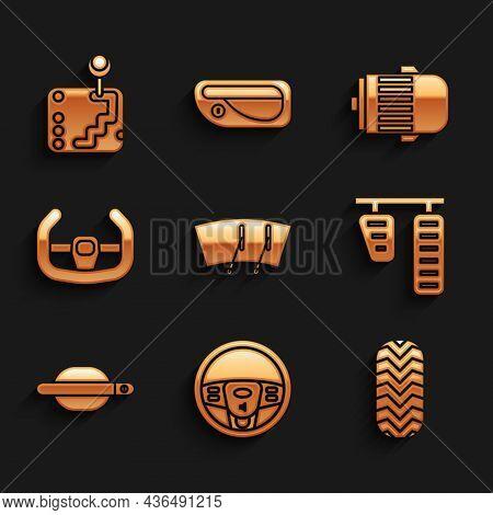 Set Windscreen Wiper, Steering Wheel, Car Tire, Gas And Brake Pedals, Door Handle, Sport Steering, E
