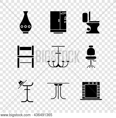 Set Vase, Shower Cabin, Toilet Bowl, Coat Stand, Round Table, Makeup Mirror With Lights, Chair And C