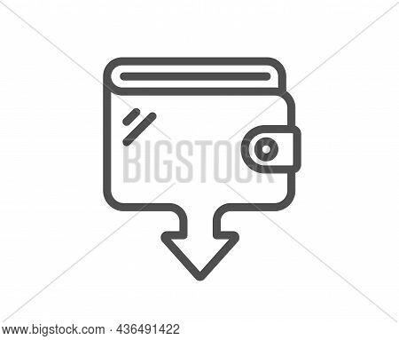 Wallet Line Icon. Send Money Purse Sign. Cash Budget Symbol. Quality Design Element. Line Style Wall