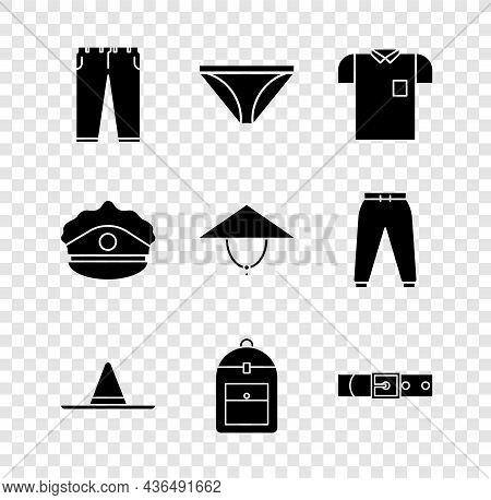 Set Pants, Men Underpants, Polo Shirt, Gardener Worker Hat, Backpack, Leather Belt, Police Cap With