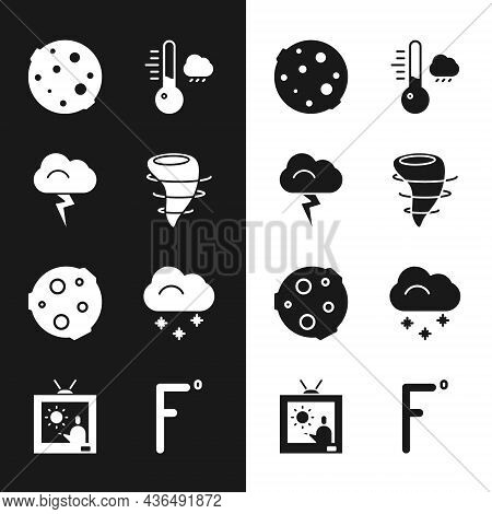 Set Tornado, Storm, Moon, Meteorology Thermometer, Cloud With Snow, Fahrenheit And Weather Forecast