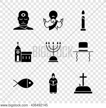 Set Man With Third Eye, Jesus Christ, Burning Candle, Christian Fish, Monk, Tombstone Cross, Church